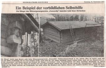 Zeitungsbericht zum Bau der Concordia Hütte