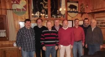 Bild hintere Reihe von links nach rechts: Gerhard Beisel, Gehard Laritz, Wolfgang Och und Eduard Kopca. vordere Reihe von links nach rechts: Bernhard Strobl, Karlheinz Dir, Martin Epp und Josef Rumbach